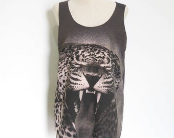 Tiger tank tiger t shirt men tank women tank top Women T-Shirt animal Shirt workout tees graphic tees Tunic Screen Print Size M