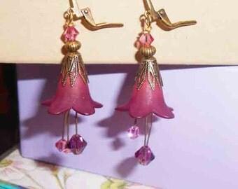 Whimiscal BOHO Flower Earrings, Woodland Flower Earrings,  Dangle Earrings, Whimiscal Earrings, Beaded Earrings and Jewelry