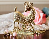 Deer Earring Stand - Shabby Chic Gold Tone Floral Accent Doe Jewelry Tree Holder - Vintage Home Girls Bedroom Vanity Decor