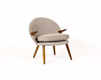 Danish Modern / Mid Century Arm Chair — Kurt Olsen for Glostrup — Teak Arms — Grey Textile