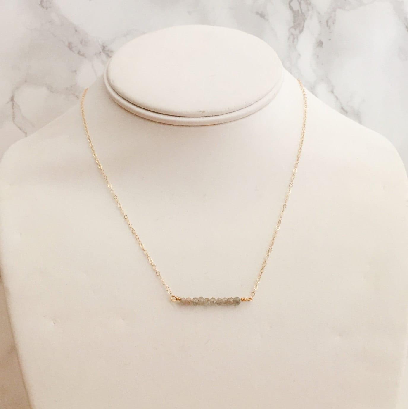 Dainty Semi-Precious Beaded Gemstone Necklace - Gray Labradorite