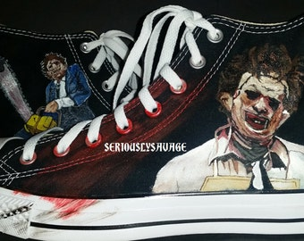Texas Chainsaw Massacre Leatherface bloody horror slasher custom painted shoes Vans Converse Toms Mens Womens Children