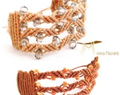 Italian bracelet, macrame cuff, brown beige band, crystal beads, jewelry for woman, micromacrame, orange beads, christmas gift for her jewel