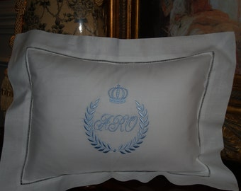 Personalized Exquisite Linen Hemstitched Baby Pillow For Babys Nursery