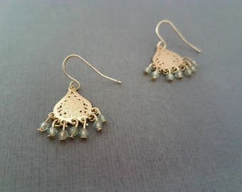 Ethnic Gold Pale Green Filigree Chandelier Earrings, Beaded Earrings, Boho Dangle, Swarovski, Anthropologie Inspired, Statement, Gypsy Drops