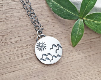 Simple Sterling Silver Necklace Dainty Silver Necklace Small Sterling Silver Necklace Silver Mountain Necklace Silver Sun Necklace Handmade