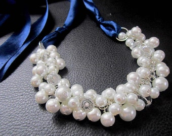 Chunky Bridesmaid Necklace - White or Ivory Pearls with Navy Blue Ribbon - Cluster Necklace, Pearl Necklace, Navy Ribbon Necklace