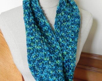 Shades of blue and green crochet infinity scarf with a floral stripe design, ready to ship