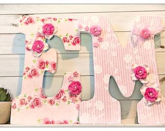 Rose Nursery. Vintage Rose. Rustic. Pink nursery. Roses. Baby Girl. Wood Nursery Letters. Damask. Garden. Floral.Girls Nursery. Nursery.
