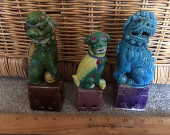 Chineses Fu or Foo Dogs, 3 Different Sizes, 3 Different Sizes, Colors and Styles, Glazed China, Excellent Condition, Protection
