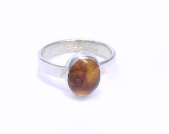 Amber and Sterling Silver Ring, Silver Amber Ring, Amber Ring, Gift for Her, Everyday Ring, Silver Amber Ring