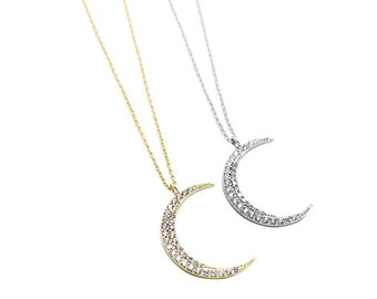 Tiny CZ Crescent Moon Necklace - Dainty, Simple, Birthday Gift, Wedding Bridesmaid Gift