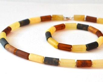 Amber Necklace, Baltic Amber Set, Amber Bracelet, Amber Gift, Amber Jewelry