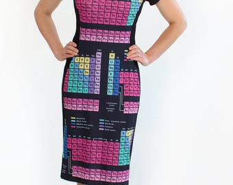 Periodic Table Dress,  Periodic Elements Dress, Chemistry Gift, Science Dress, Geeky Chemistry Lover Dress, Chemistry Teacher Gift
