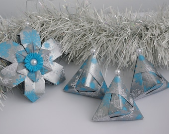 Christmas ornaments handmade - Paper Snowflake and 3 pyramids - New Year tree decor - Origami -Paper ornaments -winter holidays -silver,blue