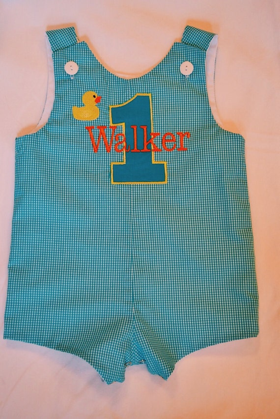 Custom made Personalized Monogrammed Rubber Ducky Jon Jon, Romper