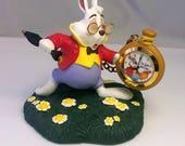 "Walt Disney Alice In Wonderland White Rabbit Figurine with Functional Clock ""I'm Late, I'm Late"" VERY RARE, Clock Bunny"
