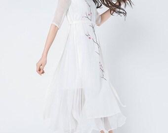 white linen dress, white chiffon dress, chiffon dress, embroidery dress, midi dress, tiered dress,  modern dress,designers dress  C1090