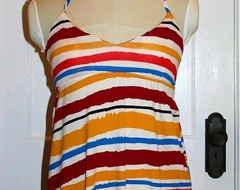 DEREK HEART Multi Color Empire Waist Sun Dress Sz XS Long Maxi Dress PL1