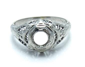 Art Deco 18K White Gold Filigree Setting Ring - 1920s 1930s Mounting - 4 mm Round Cut Stone - Size 5 - Engagement - Wedding - Promise # 4335