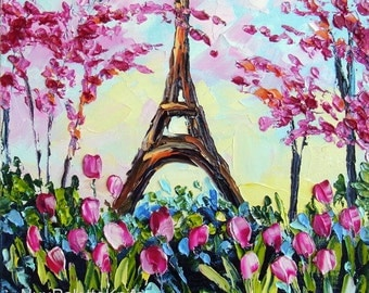 Eiffel Tower Small Oil Landscape Painting Pink Cherry Tree Tulip Original Art on Canvas Palette Knife Impasto Textured Ready to Hang