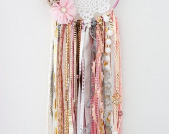 Customized Dream Catcher - Childrens room or Nursery - floral pink gold - made to order!
