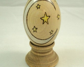 Turned Maple Wood Woodburned Crescent Moon and Stars Egg Kaleidoscope with Stand