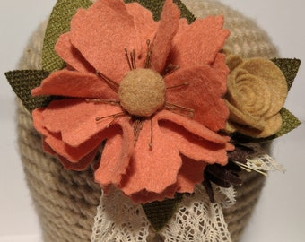 Vintage Pink Felt Flower Headband // Adult, Child and Baby, Clip, Brooch, Hat Accessory, Fascinator, Photo Prop