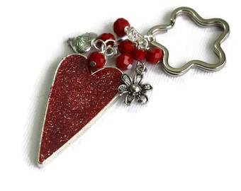 Red Heart Keyring - Mothers Day Gift - Glitter Heart Keyring -  Resin Heart Keyring -Anniversary Gift - New Drivers Gifts -