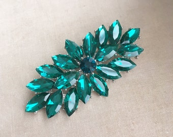 Emerald brooch, emerald green jewelry, christmas jewelry,green brooch,christmas, navette, crystal brooch, rhinestone crystal brooch EMERALD