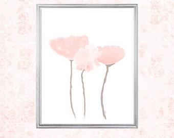 Blush Artwork, 8x10, Blush Print, Blush Pink Art Print, Pink Tulips, Contemporary Flowers, Petal Pink Print, Watercolor Flower Print,