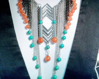 quartzite and turquoise chain statement necklace, Gemstone jewelry, cowgirl jewelry, Southwestern  necklace,Tibetan jewelry,  Tribal native