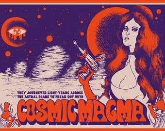 Cosmic Magma - 60s 70s vintage movie inspired poster - psychedelic moon space 3rd eye