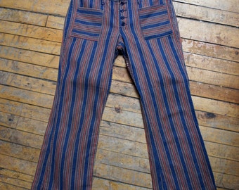 WRANGLER BUTTONFLY BELLS 1960's Striped Hip Hugger Denim Bell Bottoms with Front Patch Pockets