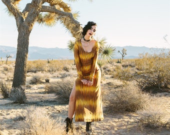 vintage 1970s brown & yellow missoni style pattern dress