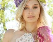 purple flower crown, large hair wreath, gladiola floral head piece, wedding crown, bridal hair piece, boho, bohemian lilac lavender