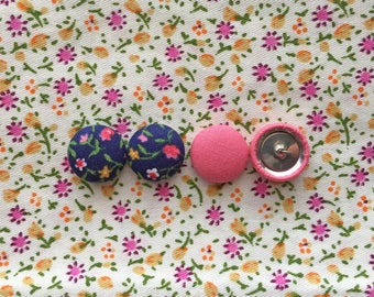 Fabric Button Earrings / Set of 2 / Bulk Jewelry / Pink and Blue / Gifts for Her / Wholesale Earrings / Handmade USA / Manhattan Hippy