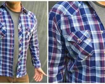 Vintage BJ-R Authentic Western Plaid Pearl Snap Shirt - Men's Large