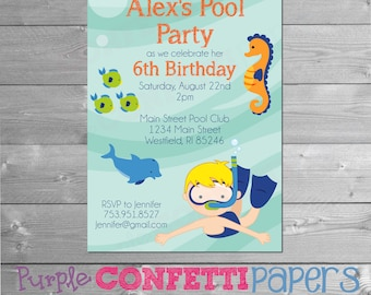 Pool Party Invitation, Swim Party Invitation, Pool Party Birthday Invitation, Boy Birthday Party, Blond, Boy Pool Party, Under the Sea Party