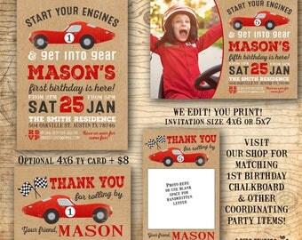 Race car birthday invitation - race car party invite - 1st birthday invitation - vintage race car - first birthday chalkboard sold in shop
