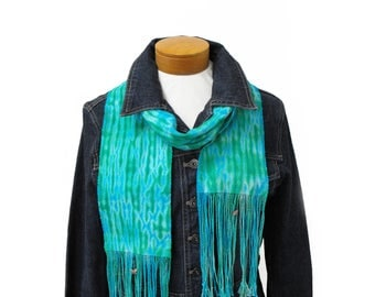Azure and Emerald Scarf Shibori, Hand Woven Scarf Hand Dyed in Blue and Green Scarf, Cotton Scarf Tie Dyed, Handwoven Blue Scarf Spring