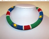 CHRISTMAS SALE Beaded Crochet Rope Necklace - Beadwork necklace - Seed beads jewelry - Colors of Namibia flag - African style necklace