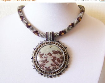CHRISTMAS SALE Beadwork Bead Embroidery Pendant Necklace with Chohua Jasper - HOPE Dance - grey - brown - gold - modern necklace - beadwork