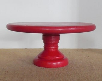 Red Cake Stand / 12 Inch Cake Stand / Wood Cake Stand / Wood Dessert Stand / French Country / Cottage Style