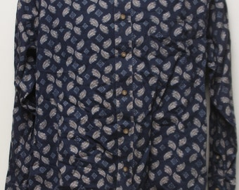 """90's Vintage """"NATURAL ISSUE"""" Abstract Patterened Long-Sleeve Shirt Sz: MEDIUM (Men's Exclusive)"""