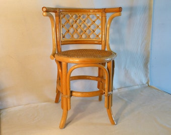 Rare Vintage Blonde Bentwood Arm Chair Thonet Style Bistro Chair with Cane Seat Rattan Back Cafe Chair Mid Century Modern Wood Dining Chair