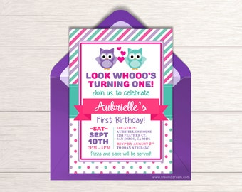 Owl Birthday Invitation - Printable First Birthday Invite - Pink Owl Birthday - Owl Themed Party Package - Look Whooo's Turning One  - BP22