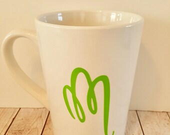 Personalized Letter M initial mug 14 oz customizable READY to SHIP