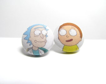 Rick & Morty Fabric Button Earrings