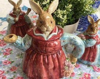 Bunny Tea Set for Children, 3 Pc, Otagiri Stoneware, The Edith Collection